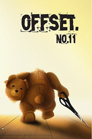 Offset 11 cover showing a toy teddybear with scissors in one hand and his head in the other hand